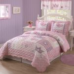 Pink Girly Bedding Color And Yellow Wall Painting