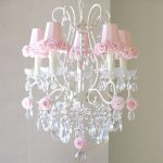 Pink Rose Shade Crystal Chandelier White