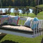 Polka dots patterned mattress for swing daybed furniture four pillows with beautiful patterns and colors