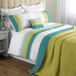 Polyster Bedding WIth WHite Blue And Green Color
