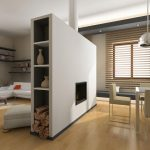 Portable room divider with shelves and modern fireplace