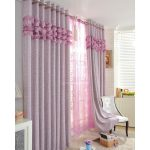 Purple And Pink Long Winter Curtain For Windows Near White Chair And Fur Rug