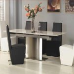 Rectangle White Plastic Table With Silver Steel Leg Combined With White Black Leather Chairs White Floor Dining Room