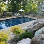 Rectangular Ground Pool Design Ideas With Natural Landscape Of Rocks And Plants