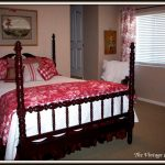 Red And White Bedding Bed And Pllows Wooden Bed Frame Curtains