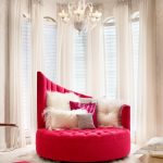 Red And White Chair With Fur Piilows And Rug Large Curtain With Cool Chandelier