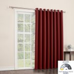 Red Blackout Curtain For Big Window In White Room