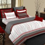 Red Pillows And Bed Sheets Color Combo Grey Rug Black Table And Bed Frame