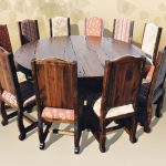 Round Wood Table With 12 Seats Dining Room