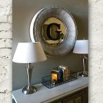 Round brushed nickel mirror a pair of table lamps