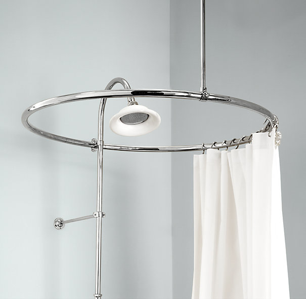 Round Metal Shower Curtain Rod Idea With White A Free Standing Showerhead