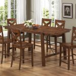Rustic Kitchen Table Set Wooden With Six Chairs And White Curtains