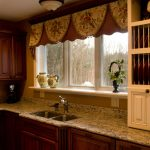 SHort Curtains For Kitchen Window With Wooden Set