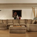 Sectional Big Brown Couch And Table Big Vase Frame