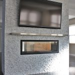 See Thru With Stainless Steel Mantel Shelf With Modern Flat TV