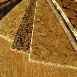 Several selections of cork floor boards with different tone color texture and natural pattern