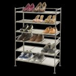 Seville-Classics-Mesh-3-Tier-Utility-Shoe-Rack-in-Gray-color-removable-mesh-panels-to-store-tall-shoes-made-of-metal