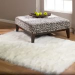Shaggy rug in white color cowhide ottoman furniture