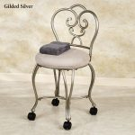 Silver Chair Rolling Vanity Stool