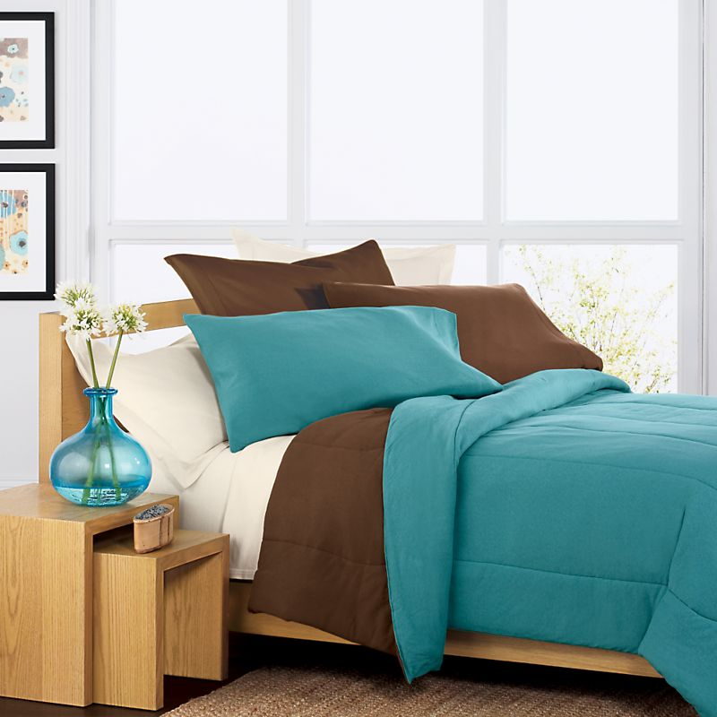 Simple Modern Unfinished Wooden Bed Frame With Low Headboard Teal And Brown Bedding Pillows An