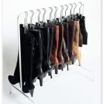 Simple rack with hangers for hanging boot collections