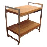Simple wood bar cart with wheels and stainless steel frame