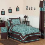 Single bed furniture with beautiful brown and teal bedding and pillows black wooden bedside table with small table lamp x base folding stool in teal and brown colors hanging wall arts