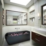 Skylight Black Ceramic Bath Tub Flooring Tile Wooden Cabinet Square Mirror In Modern Bathroom