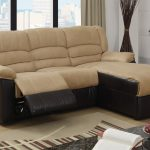 Small reclining sectional with black leather cover at base and microfiber cover at top