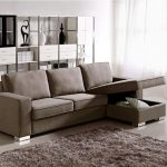 Small sectional idea with under storage in its chaise grey shaggy rug for modern living room open bookcase room divider