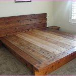 Solid wood king platform bed furniture with headboard a pair of small solid wood bedside tables