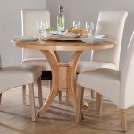 Solid wood round dining table for four white leather dining chairs