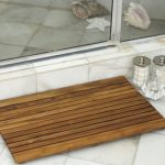 Square wood shower mat product