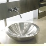 Steel vessel sink with wall mount faucet