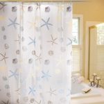Stylish-Living-Elegant-PEVA-Bathroom-Shower-Curtain-Liner-with Hooks-and-Clear-with-Starfish-Conch-and-Shell-also-for Kids-with-72Inches-x-72Inches-full-PEVA