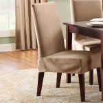 Sure Fit Cotton Duck Short Dining Room Chair Slipcover In Cocoa Color And Box Cushion Type With Full Cotton And Back Tie Closure And Plain Weave Type
