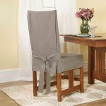Sure Fit Cotton Duck Short Dining Room Chair Slipcover In Linen Color And Box Cushion Type With Full Cotton And Back Tie Closure