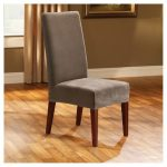 Sure Fit Stretch Pique Short Dining Chair Slipcover In Taupe With Soft Waffle Textured Form Fitting Fabric Also Made Of Polyester And Spandex