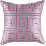 Sweet glossy light pink accent pillow with deep pink pattern
