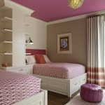Sweet pink bedding idea for two single bed frames