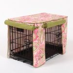 Sweet pink fabric cover with beautiful patterns for dog crate