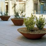 Three series of Corten planters made from steel