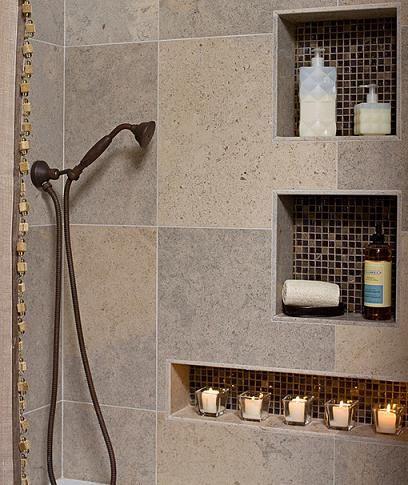 built in shower shelves - homesfeed