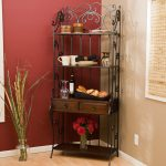 Traditional Black Iron With Brown Wooden Corner Furniture Bakers Racks With Drawers