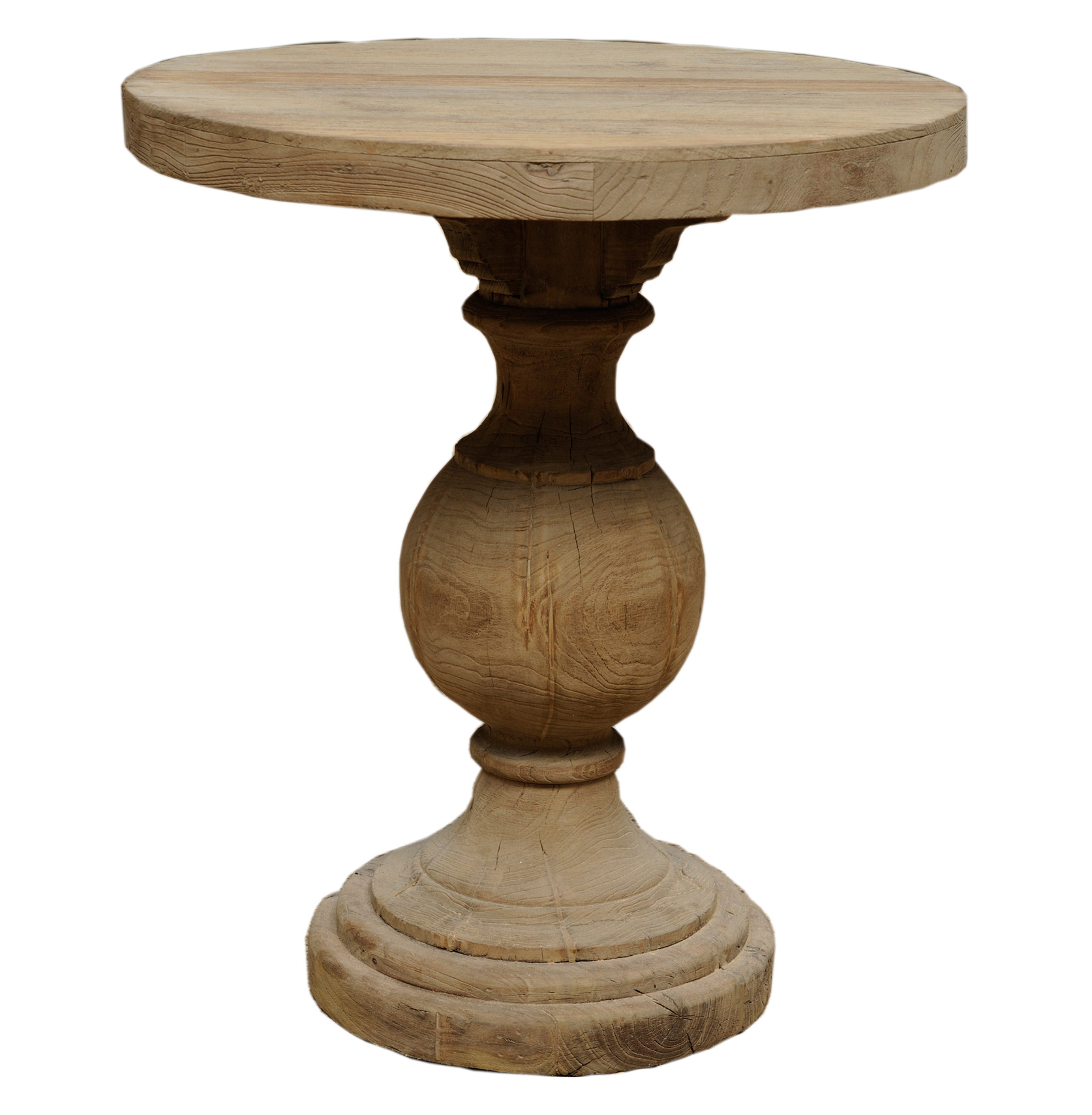 Traditional Wooden Small Round Table With Pedestal