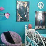 Turquoise Teenage Bedroom Wall Painting Bed And Zebra Color Purple Chair Near Stylish Stand Lamp