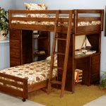 Twin Bunk Bed Design With Two Beds Desk And Drawers