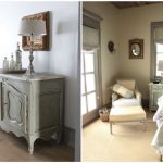 Two samples of room decor in French style represented a corner chair with an ottoman a bed frame  a small bedside table a shabby chic dining cabinet with table lamp