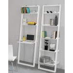 Two units of minimalist white lean wall  bookhelves