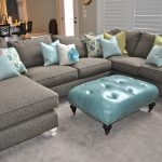 U Shaped Grey Velvet Sectional Sofa With Stylish Pillows And Table